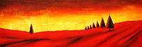 夕阳下的山坡油画