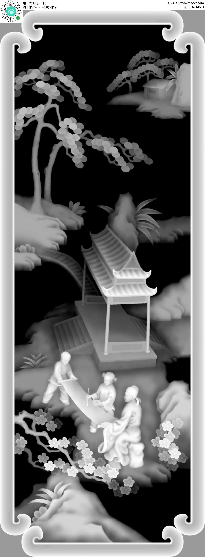 中式风格 古代人物 凉亭 树木 花纹边框 浮雕 浮雕灰度图 浮雕图模板