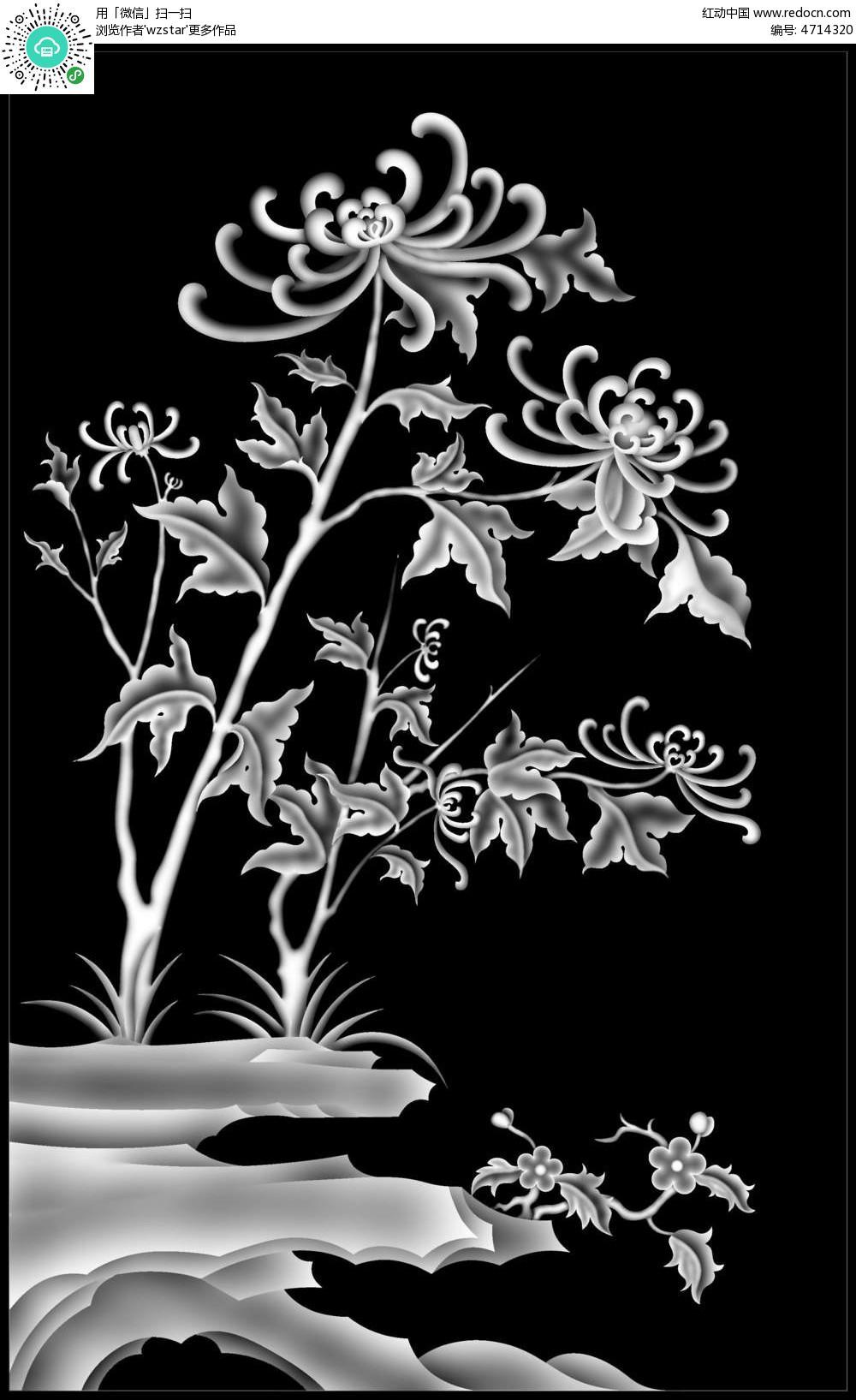 中式风格 植物 花鸟画 浮雕 浮雕灰度图 浮雕图模板 雕花 灰度图 黑白图片