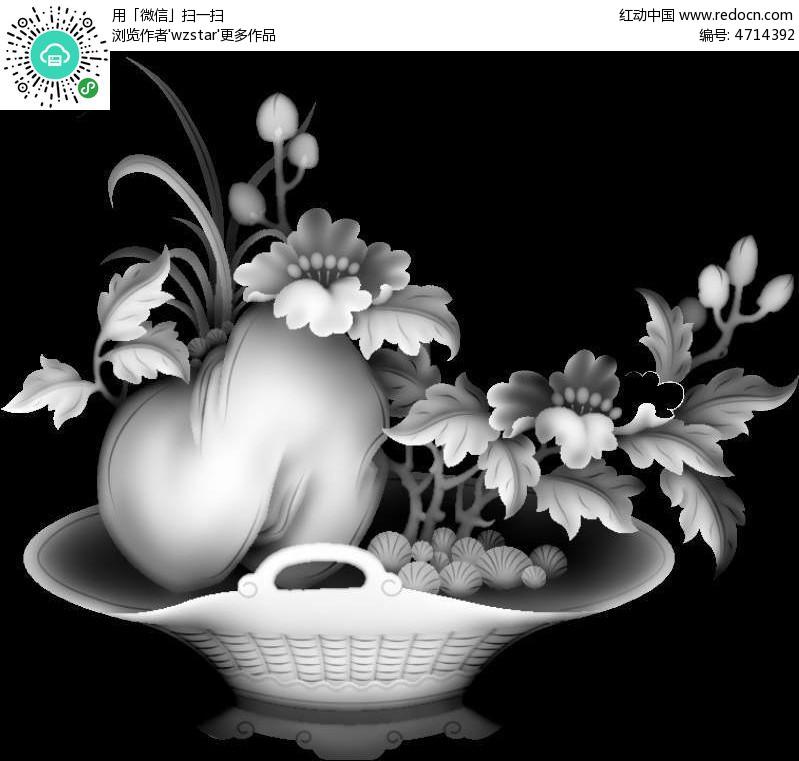 花盆黑白画分享展示