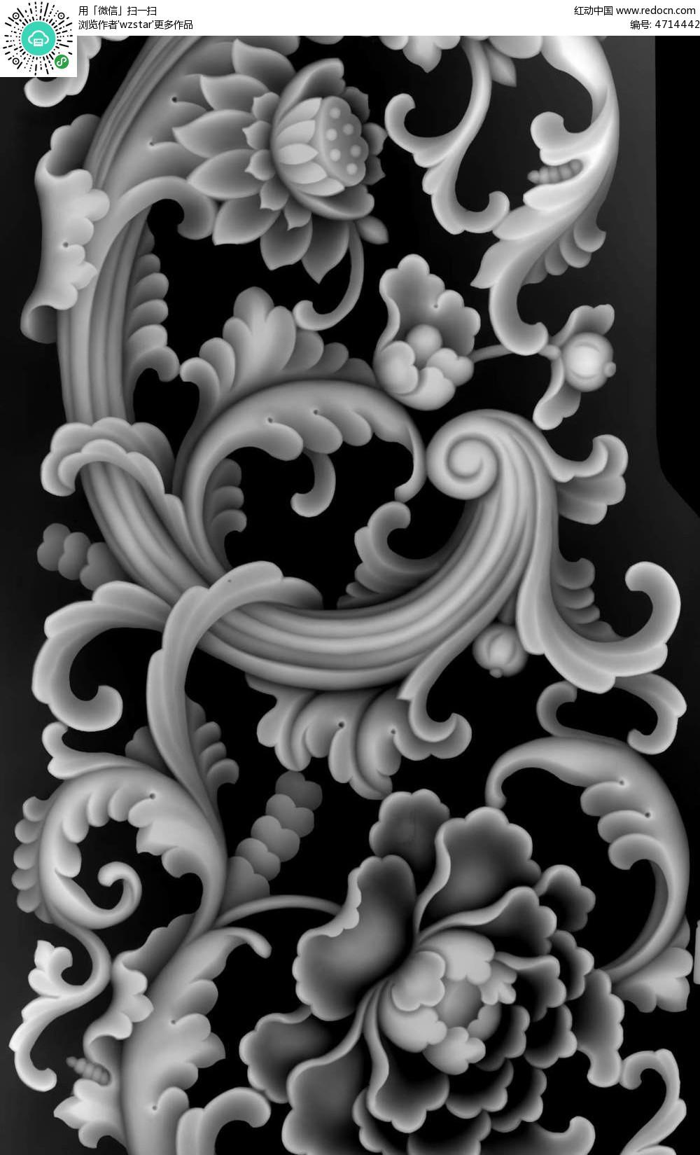 中式风格花朵花纹浮雕图