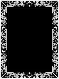 中式花纹边框黑白浮雕画图片