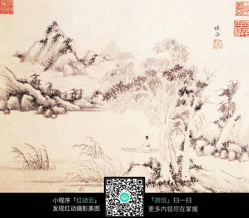 大树小舟手绘水墨画图片