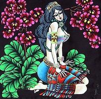 跪在草地的女人