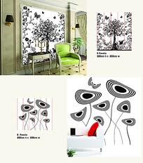 黑白花纹大树艺术墙贴