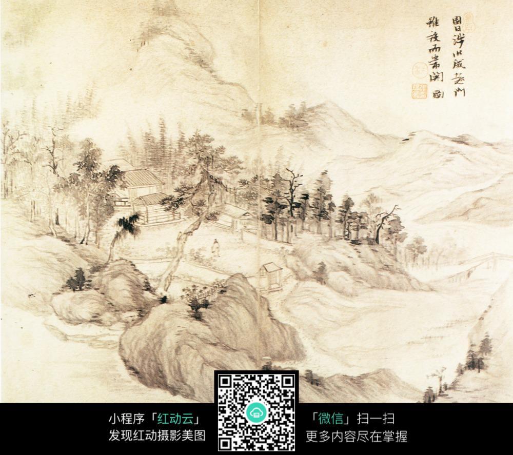 凉亭小桥黑白国画