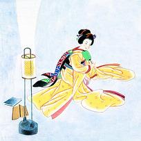 日本艺妓图