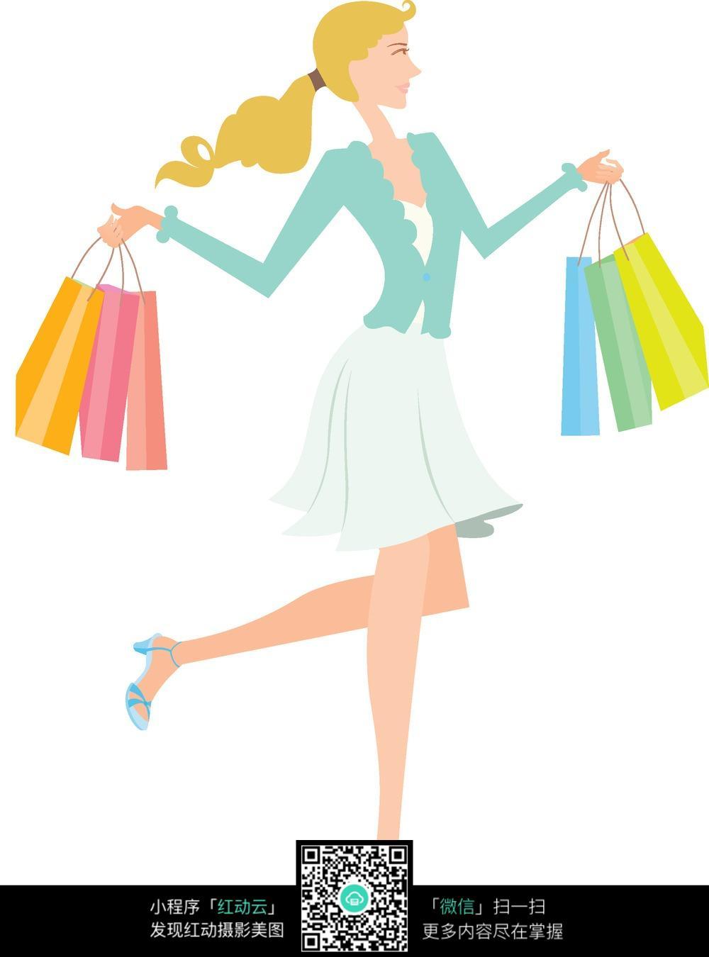 提满购物袋的女人图