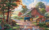 彩色乡村农场油画