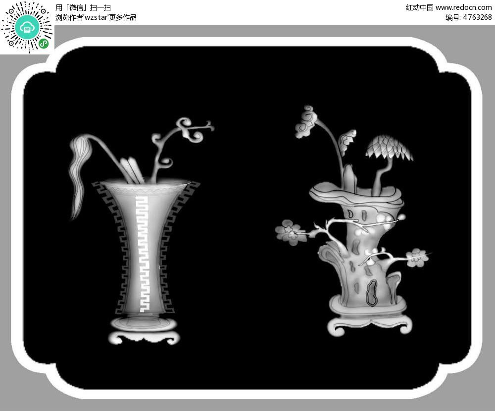 古代中国风花瓶花架精雕画其他免费下载 隔断 雕刻图案素材