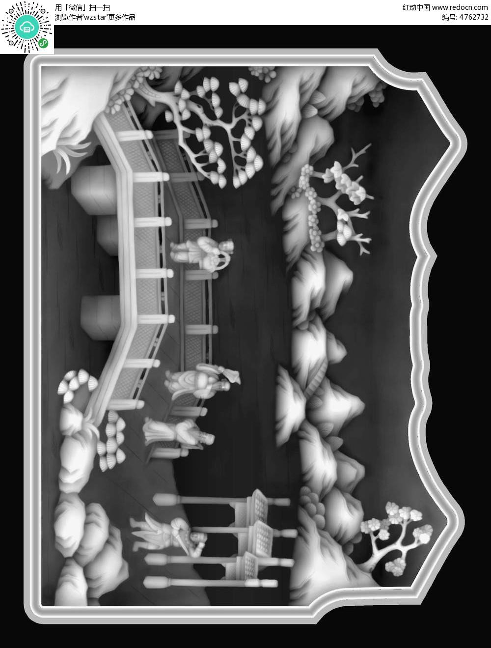 中国风古代人物黑白精雕图