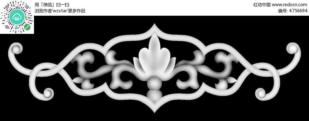 中式花纹黑白雕花图