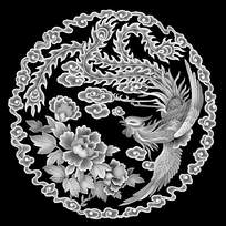 古典花朵凤凰黑白雕花图案