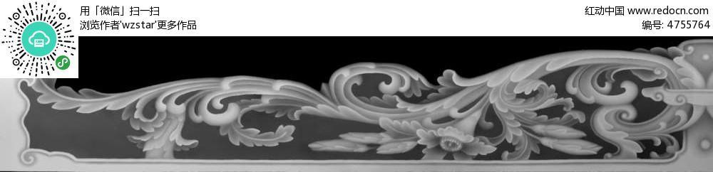 古典中式花纹雕花灰度图图片