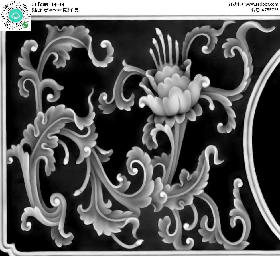 古典中式花纹花朵边框精雕画其他免费下载图片