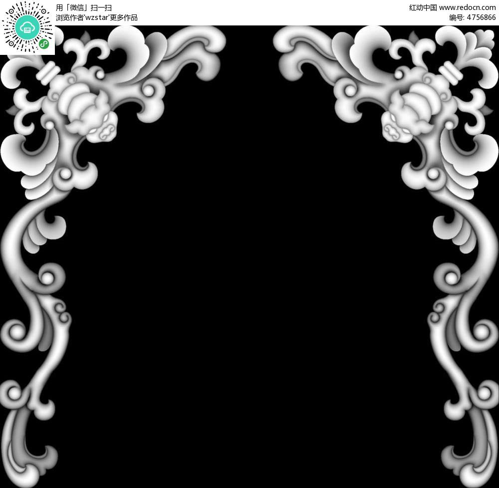 中国风花朵花纹黑白浮雕画图片