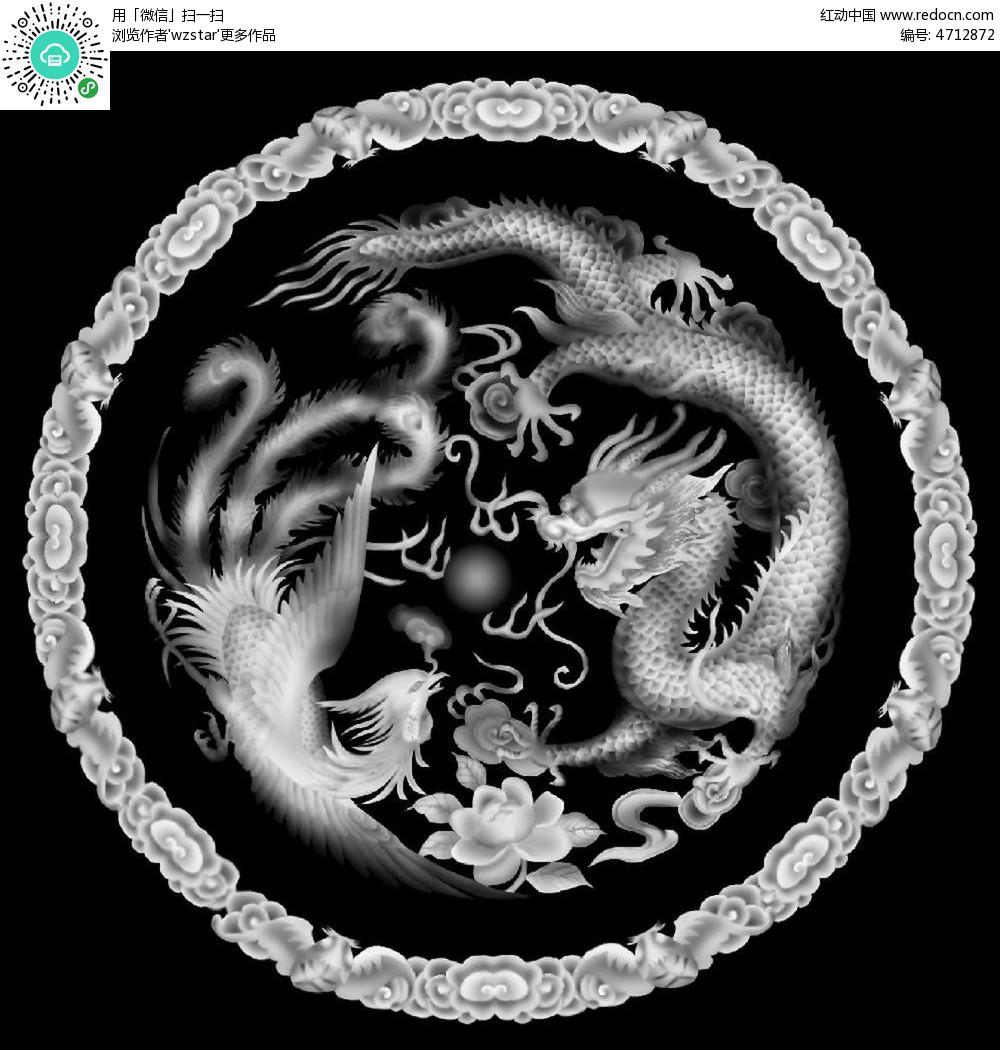中式风格 古代图腾 神兽 花朵花纹 中国风 浮雕 浮雕灰度图 浮雕图图片