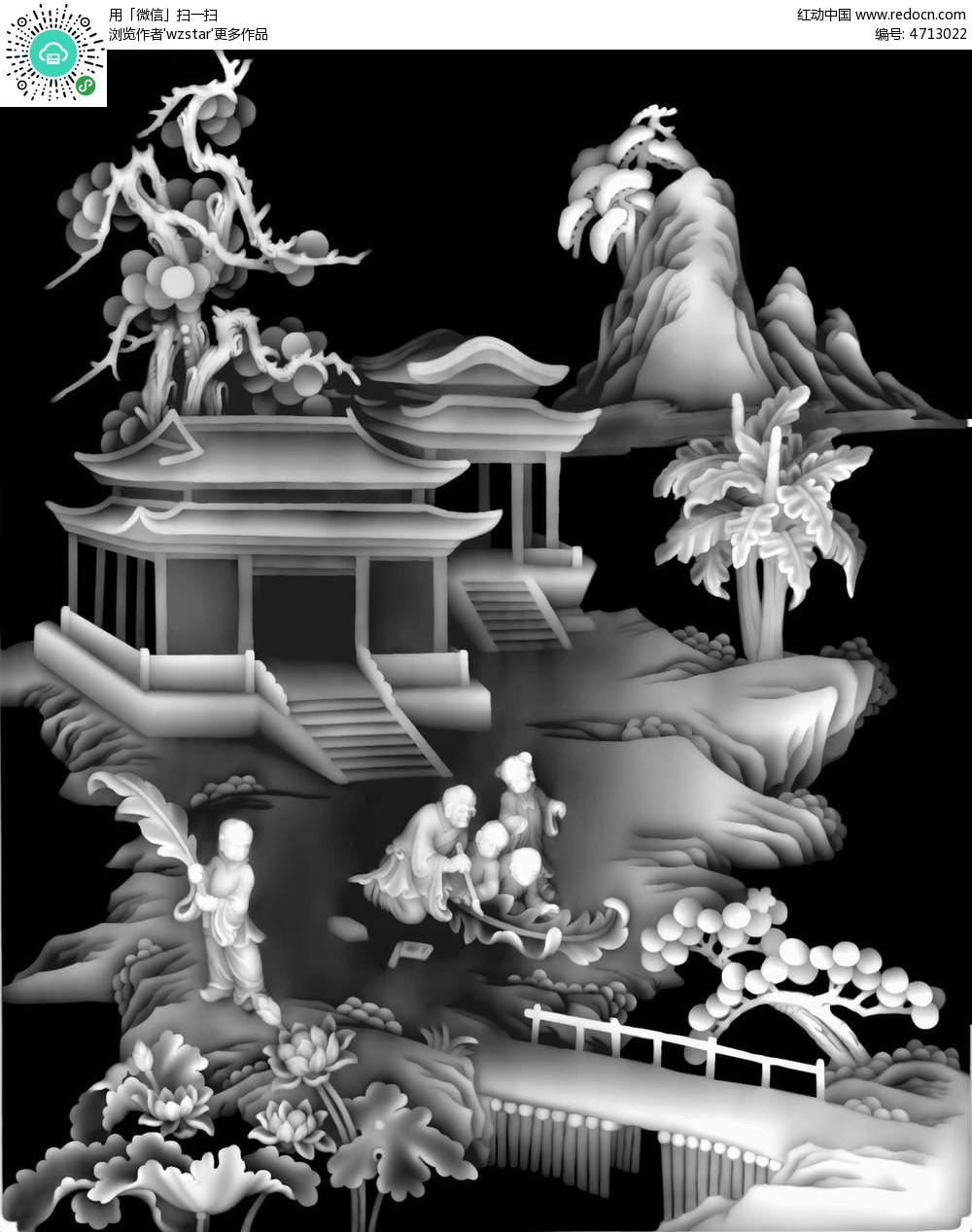 中国古代建筑人物精雕图图片