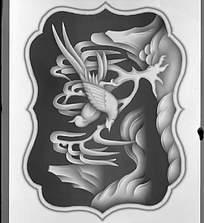 中式风格花鸟画黑白图案图片