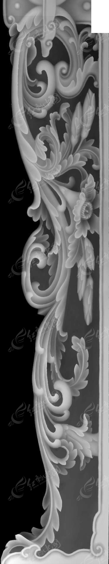 古代中式风格花朵花纹灰度图图片