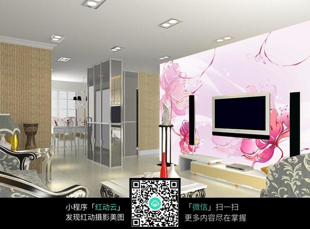 客厅大花朵电视背景墙