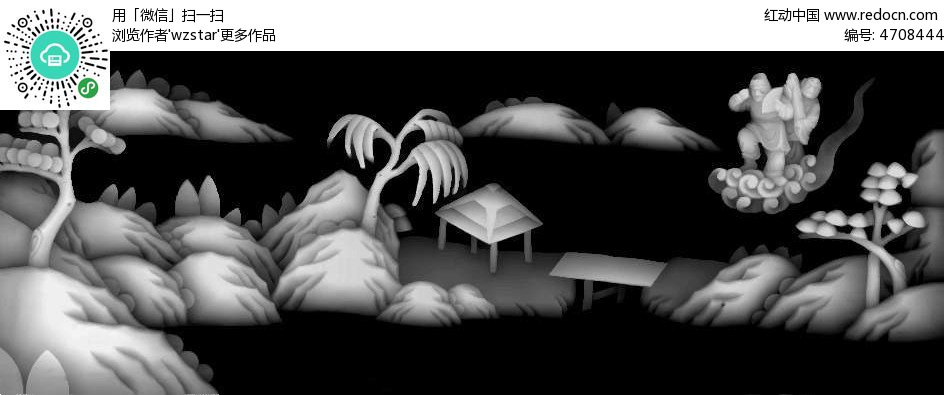 中国风 古典风格 树木 浮雕 浮雕灰度图 浮雕图模板 雕花 灰度图 黑白