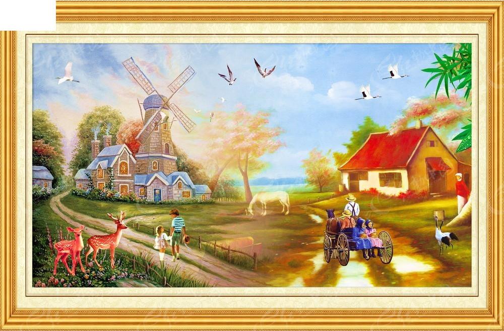 和谐田园风光装饰画图片