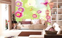 花卉蝴蝶背景墙
