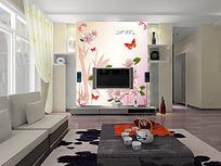 蝴蝶唯美电视背景墙