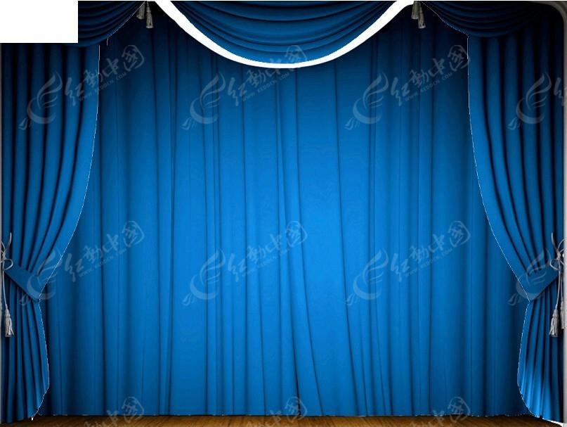 蓝色幕布背景ppt模板