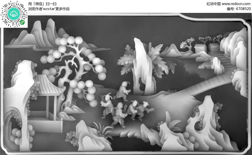 雕刻 雕花 工艺 电脑制图 绘图参考 精雕图 黑白图 浮雕 浮雕灰度图