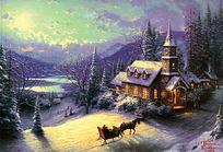 别墅雪景油画素材