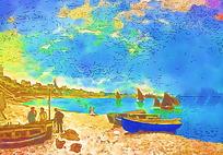 海滩油画素材