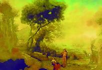 树下的女人油画
