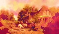乡村风景图油画