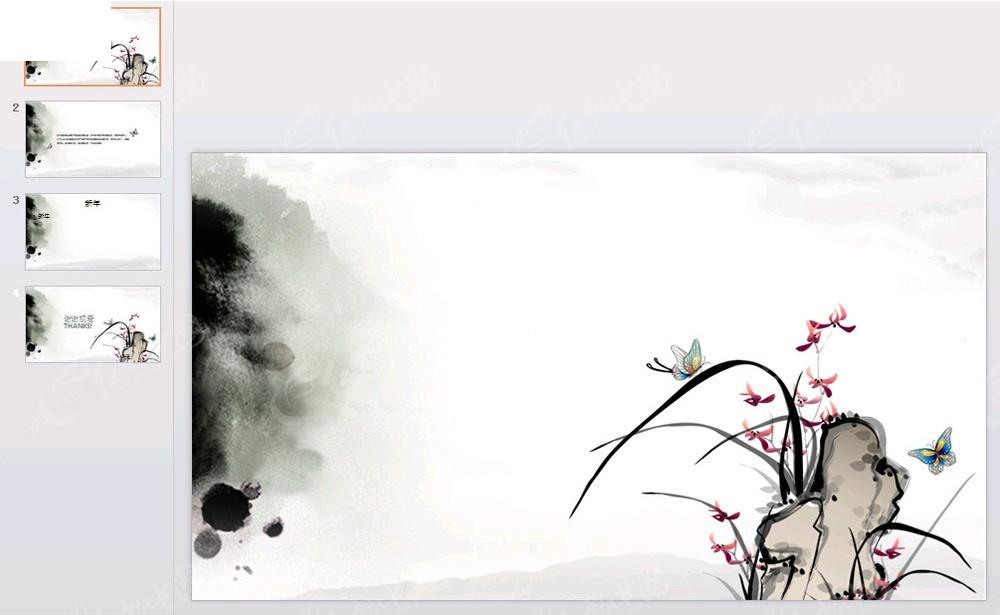 花蝴蝶背景ppt素材免费下载_红动网图片