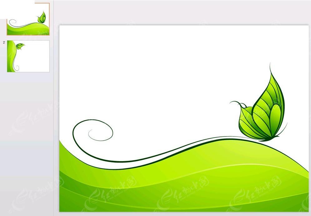 绿色蝴蝶背景ppt素材免费下载_红动网图片