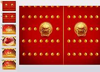 红色古代大门ppt模板图片