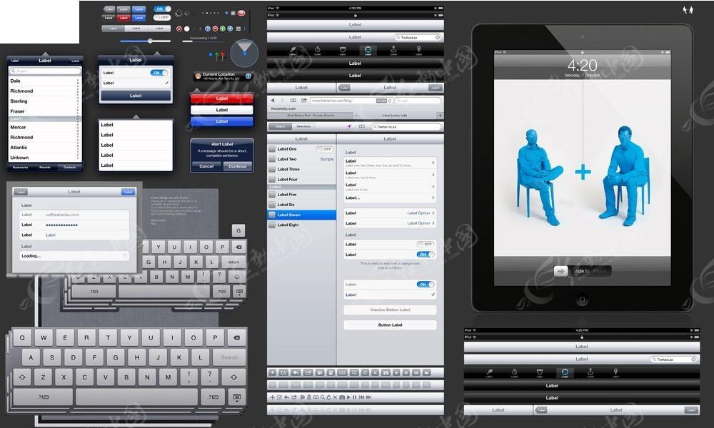 ipad平板电脑ui设计图标psd免费下载