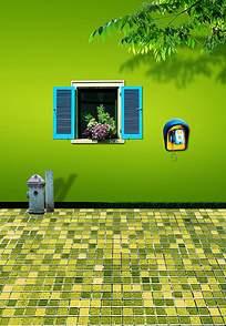 绿墙上的窗户和公共电话