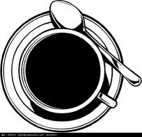 杯子勺子碟子矢量图形