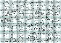 草稿纸上的方程式矢量素材