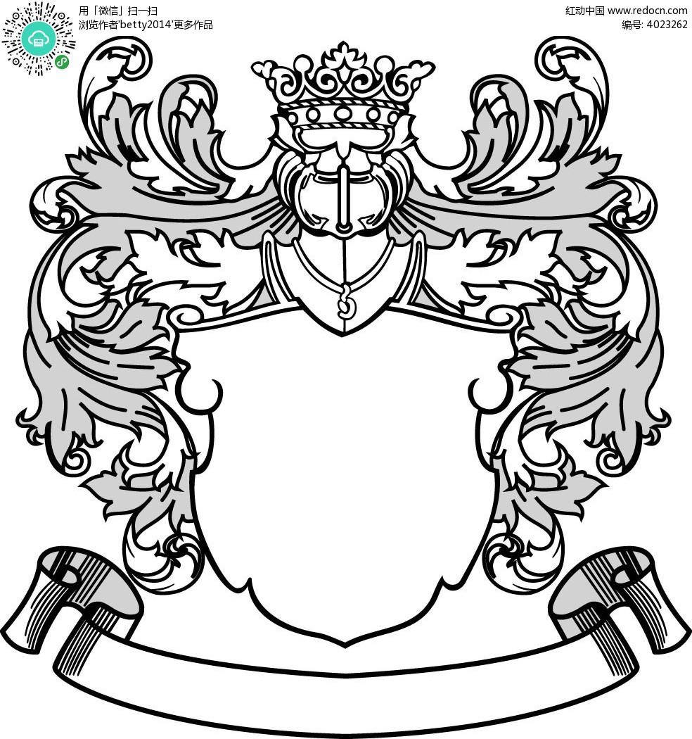 欧式叶子与皇冠盾牌边框矢量图eps免费下载