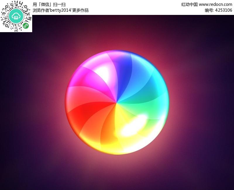 七彩圆形图标psd素材免费下载_红动网图片