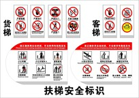 扶梯安全标识海报矢量素材