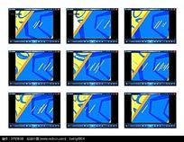 蓝黄底纹演示视频素材