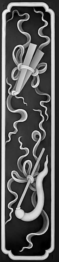罗汉床雕刻图案灰度图