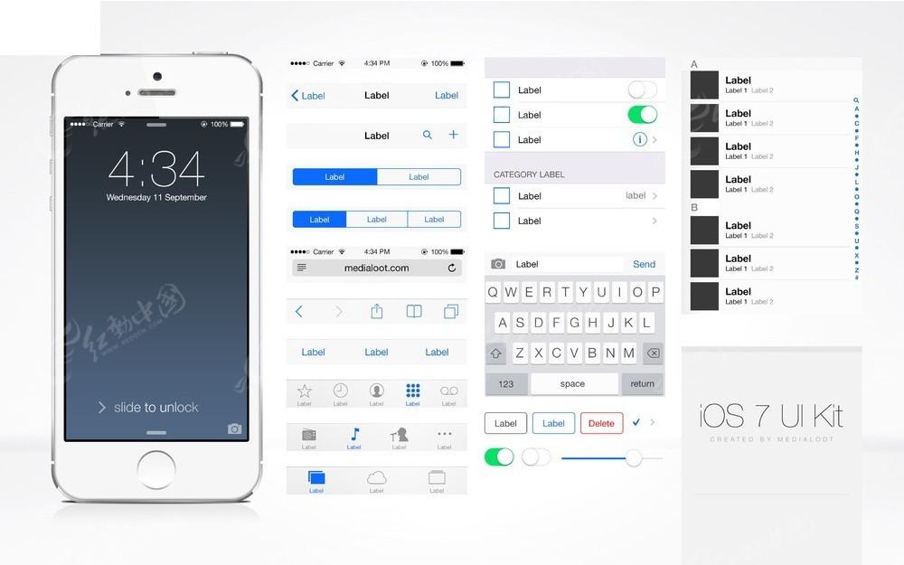 苹果手机及界面设计ui元素