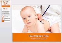 外国儿童检查身体PPT模板