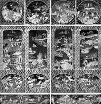 复古市集扇子屏风图案背景